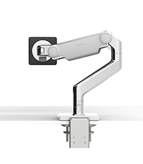 M8.1 MONITOR ARM WITH TWO-PIECE CLAMP MOUNT BASE, POLISHED ALUMINIUM WITH WHITE TRIM